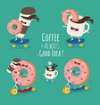 Cartoon comic coffee cup and donut take coffee vector image