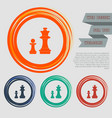 chess icon on red blue green orange buttons vector image vector image