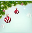 christmas blue background with red new year balls vector image