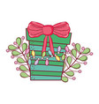 christmas gift box with wreath vector image vector image