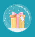 christmas snow globe with a gift inside in flat vector image vector image