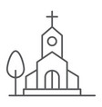 church thin line icon religion and building vector image vector image