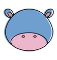 cute and tender hippopotamus head character vector image