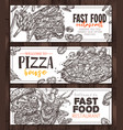 fast food monochrome horizontal banners vector image vector image