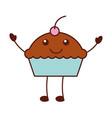funny cartoon cake birthday kawaii vector image vector image