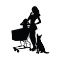 girl with baby and animal silhouette vector image vector image