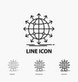 globe network arrow news worldwide icon in thin vector image vector image