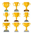 golden champion trophies isolated badge set vector image