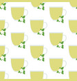 green tea in glass cup seamless pattern vector image vector image