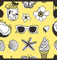 hand drawn summer seamless pattern with coconut vector image vector image