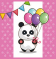 happy birthday card with bear teddy vector image vector image