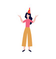happy girl or woman in birthday hat flat vector image