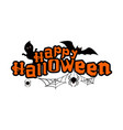 happy halloween text with ghosts bat and spiders vector image