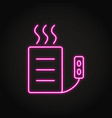 heating pad icon in neon line style vector image