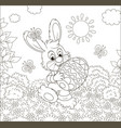 little bunny with an decorated easter egg vector image vector image