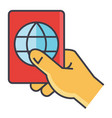 man holding in hand his passport personal vector image vector image