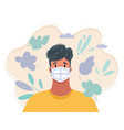 medical mask healthy man vector image