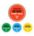 Money back set of badges colorful sign template