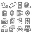 nfc mobile phone payment and terminal icons set vector image vector image
