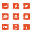religious life icons set grunge style vector image vector image