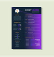 resume design template with background vector image