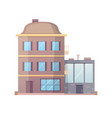 retro flat city house icon town building or vector image