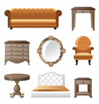 retro-styled home furniture icons vector image vector image