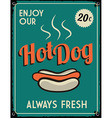 Retro Vintage Hotdog Tin Sign vector image vector image