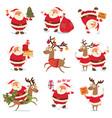 santa claus and christmas reindeer vector image