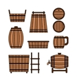 Set barrel mug wooden tub and other barrel vector image