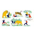 set characters is attacked with wild animals