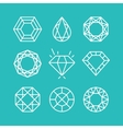 set line diamond icons and signs vector image