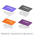 set of cinema entry ticket icons isolated on white vector image