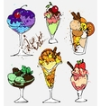 Set of hand draw colored ice cream vector image vector image