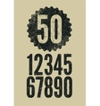 Set of retro numerals with letterpress effect vector image