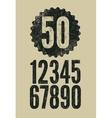 set retro numerals with letterpress effect vector image