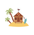 small wooden hut on tiny sand island with palm vector image vector image