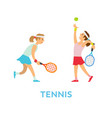 tennis players woman team playing together vector image