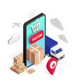 tracking isometric concept smartphone parcel vector image vector image