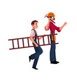 two construction workers - one driving nail vector image vector image