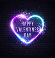 valentines day card 3d realistic neon heart shape vector image vector image