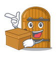 with box wooden door isolated on character cartoon vector image