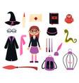 little girl wizard vector image