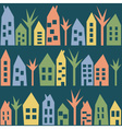 Color houses seamless pattern vector image