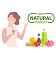 100 one hundred percent natural product caption vector image vector image