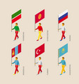 3d people with flags of asian countries vector image