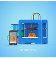 3D printing concept poster in flat style vector image vector image