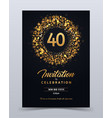 40 years anniversary invitation card template vector image
