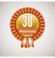 Anniversary golden badge with ribbons vector image vector image