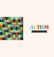 autism awareness day papercut puzzle banner vector image vector image